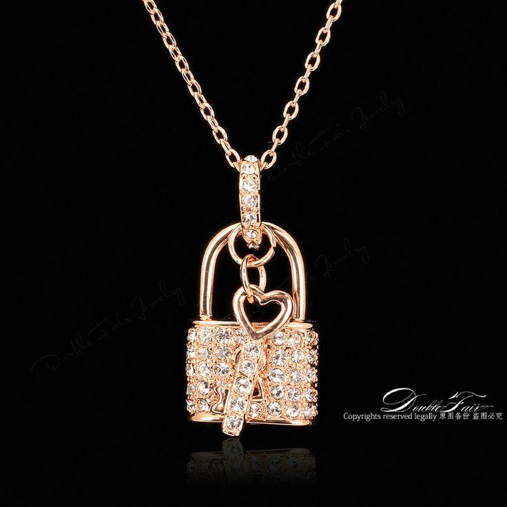 Шарм Блокировка & Ключ CZ Бриллиантовые Ожерелья и Кулоны Мода Марка Crystal Ювелирные Изделия Для Женщин Цепи Кубического Циркония Accessiories DFN402