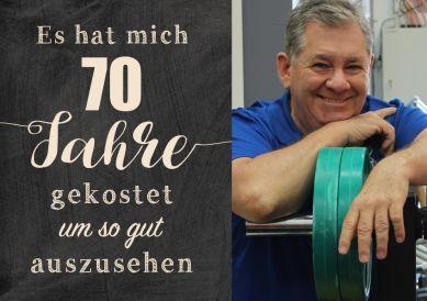 Lustige Einladungskarte zum 70. Geburtstag mit Foto und Spruch zum guten Aussehen