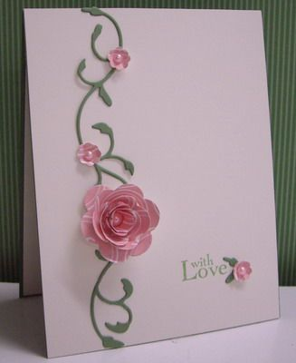 """""""Blushing Rose""""  Stamps: Field Flowers - sentiment (SU!)  By:Stamping with Loll"""