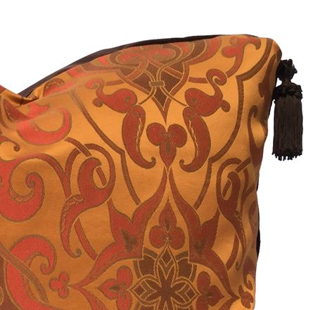 SOHIL Beautiful spice colored jacquard pillow with deep brown velvet back and tassels www.sohildesign.com