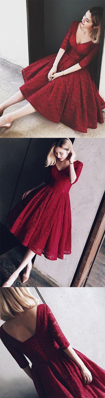 burgundy homecoming dress,knee length homecoming dress,lace homecoming dress,half sleeves wine red homecoming dress