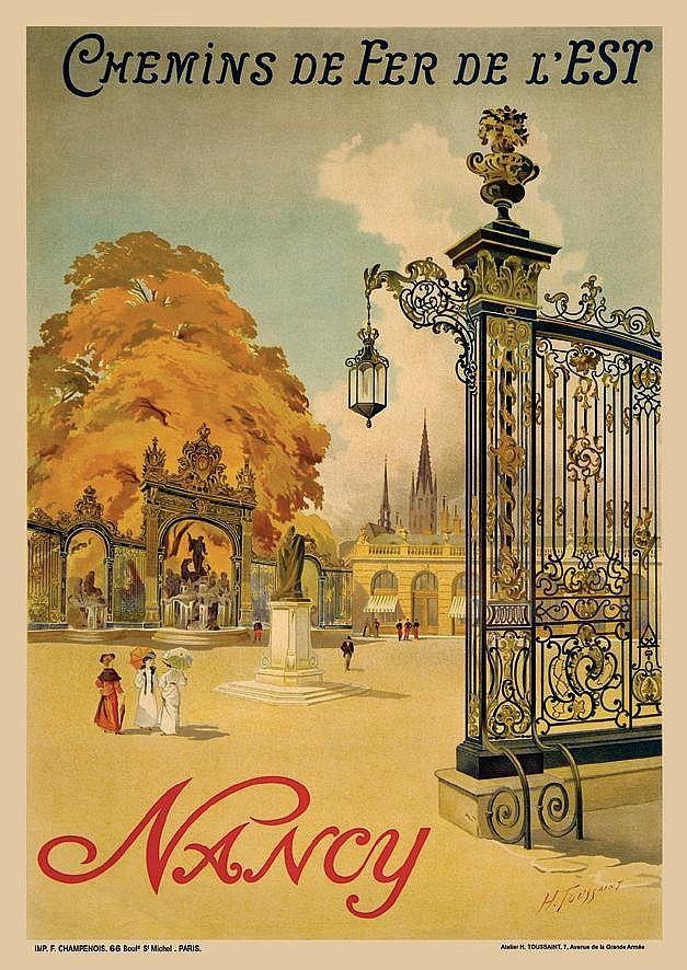 Vintage Railway Travel Poster - Nancy - by Toussaint, 1905.