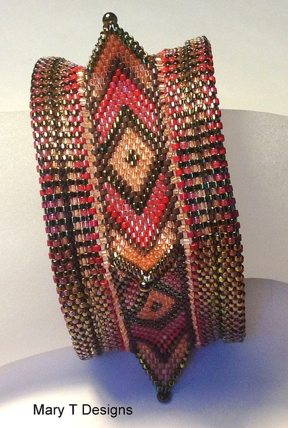 Geometric Beadwoven Cuff Bracelet...EBW Team by MaryTDesigns