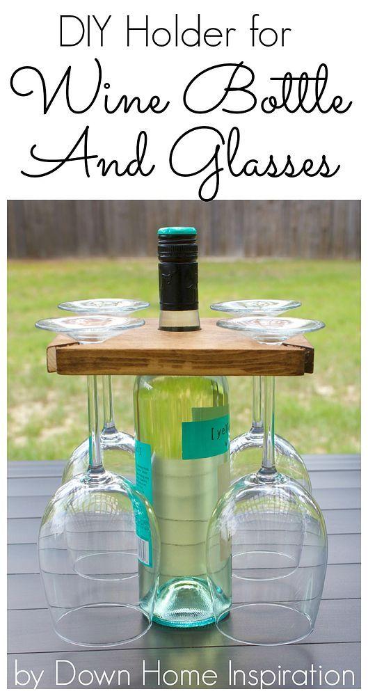 DIY Wine Bottle and Glasses Carrier