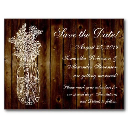Mason Jar Stamp on Dark Wood Save the Date Wedding Postcard