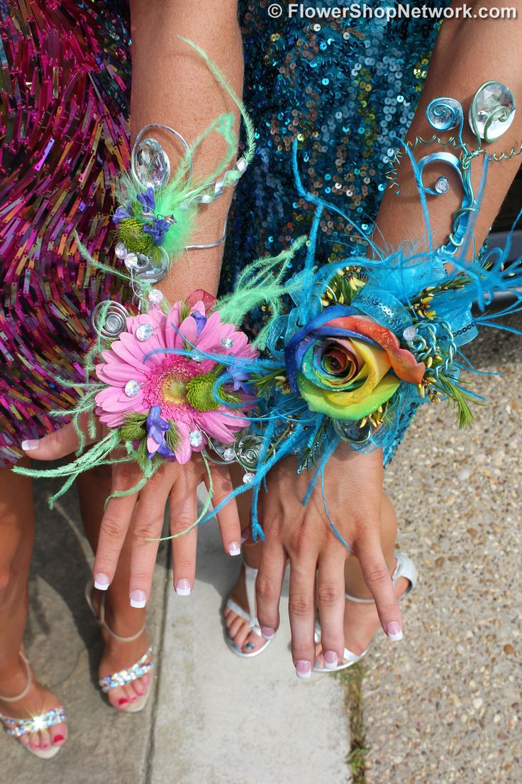 feathers | Here you can see both corsages together. The girls were so excited ...