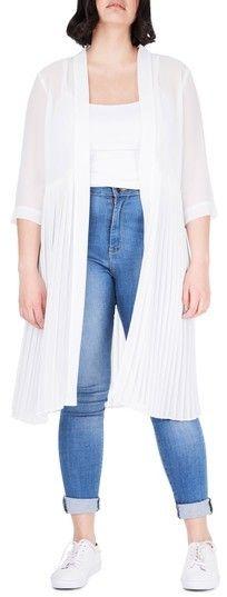 Plus Size Women's Elvi Pleat Duster Jacket