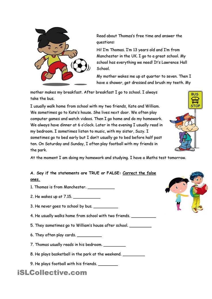 THOMAS'S FREE TIME: ESL worksheet of the day on July 1, 2015 by mamartins