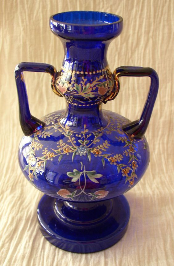 *ANTIQUE ~ Bohemian Glass Cobalt Blue Hand Painted Vase
