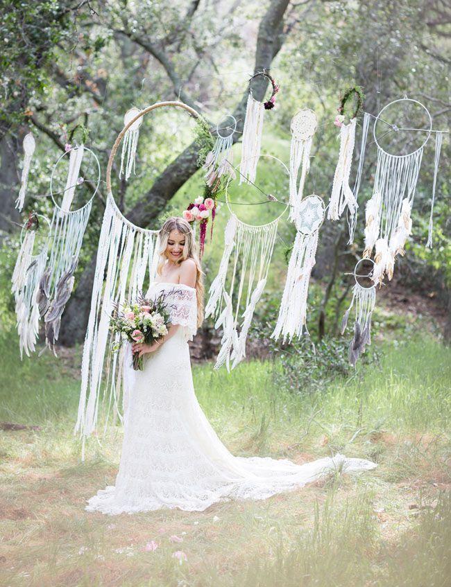boho lace wedding dress with dreamcatchers