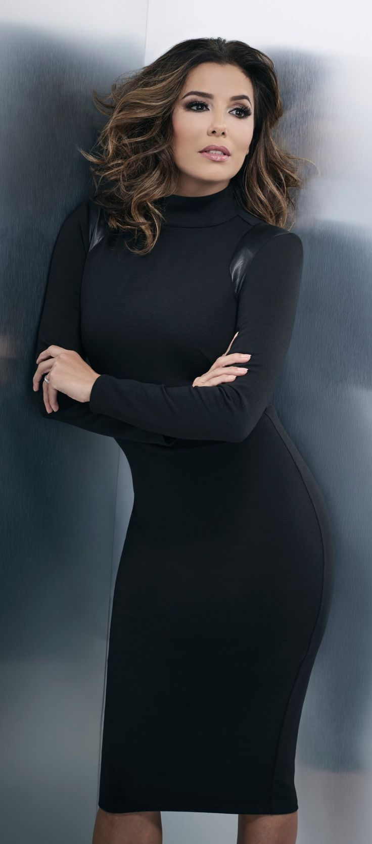 Exclusively from the Eva Longoria collection. Faux leather insets add on-trend appeal to a classic turtleneck dress. Power Ponte is an impeccable double knit fabric with amazing stretch. Think flawless fit from conference room to cocktails.