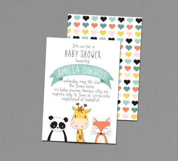 Tier-Baby-Dusche Einladung, Baby-Zoo-Tiere, Dschungel, Safari druckbare einladen, Panda, Giraffe, Fuchs 1. Geburtstag Party Geschlecht Neutral süß