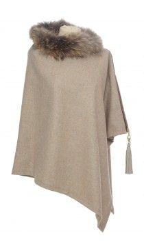 Holland Cooper luxury ladies tweed raccoon fur wrap malt