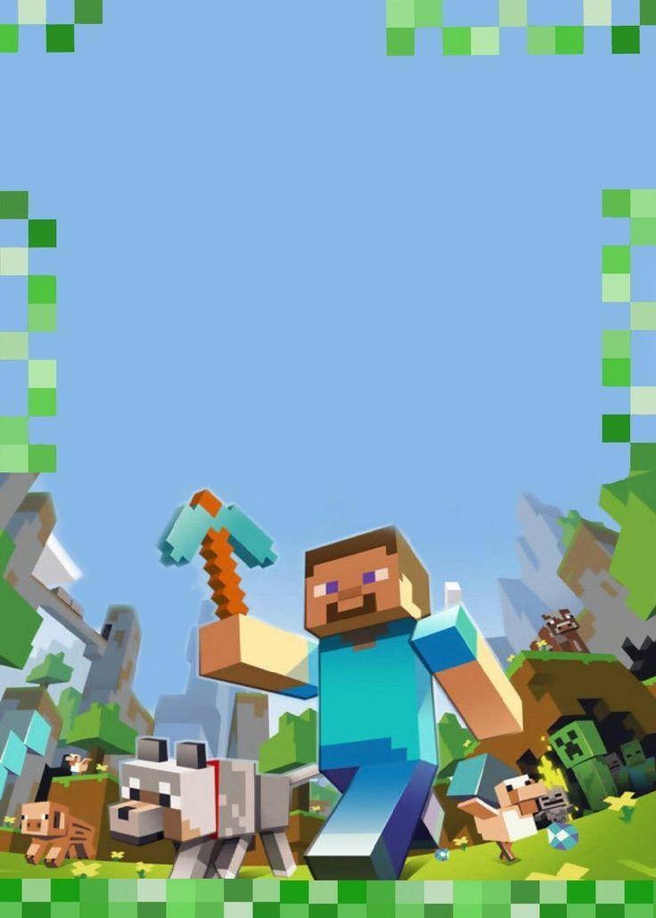 Carte d'invitation Minecraft vierge, à remplir avec les infos de l'anniversaire de l'enfant