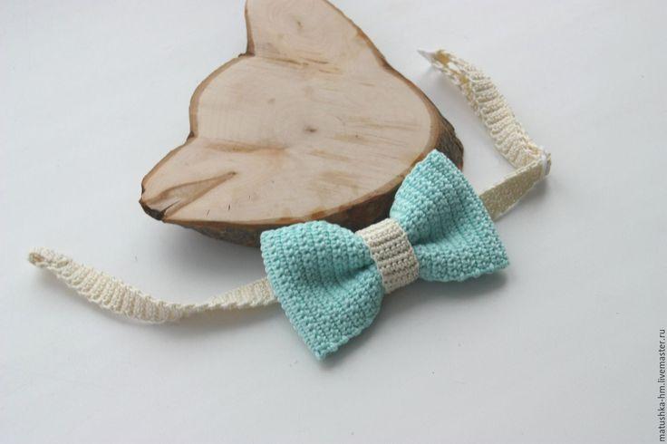 Купить Галстук - бабочка - бирюзовый, голубой, бабочка, галстук-бабочка, бабочка ручной работы,knitting, bow tie, crochet