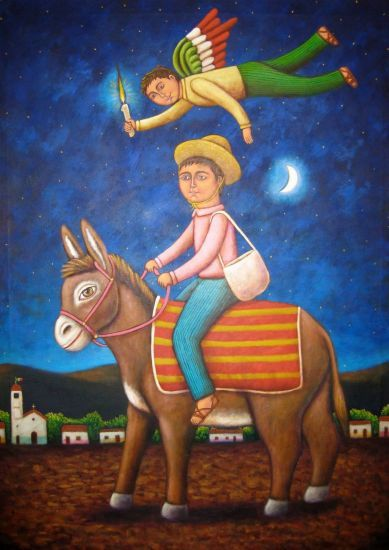 Purchase El burrito - Painting by esau Andrade Valencia for 0,00 USD at Artelista.com, with free delivery & refund worldwide