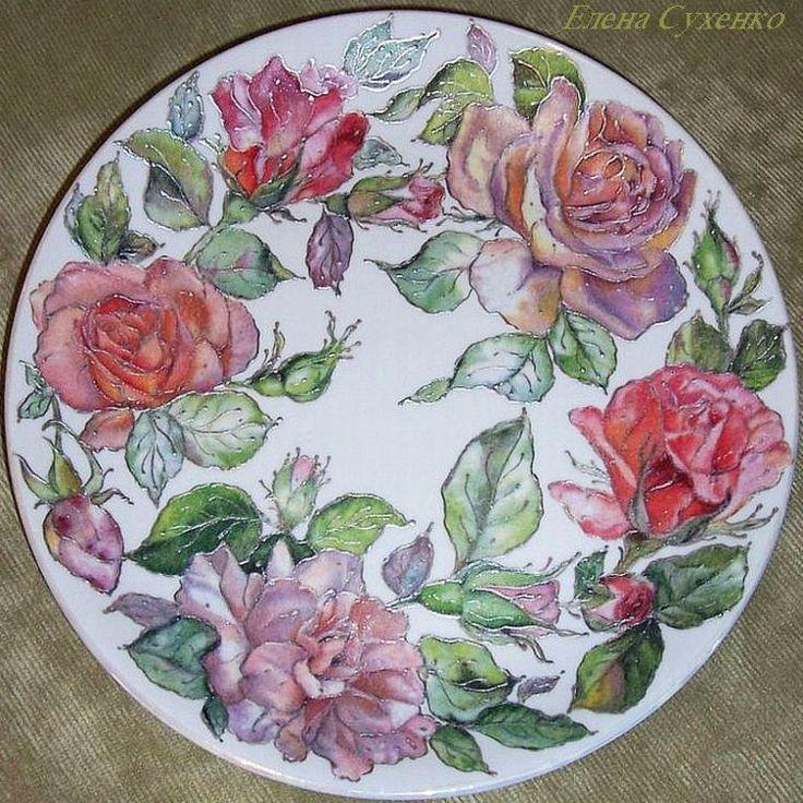 "Тарелка ""Розы в серебре"""