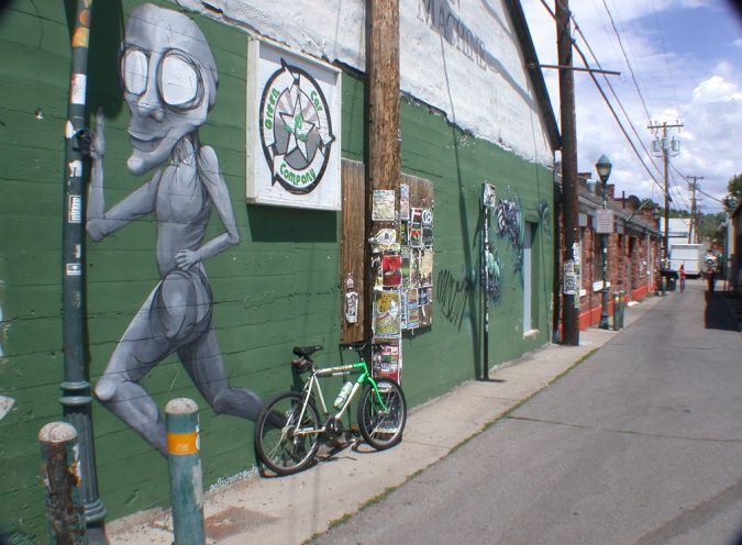 Picture of bicycle touring bike friendly alleys in Flagstaff, AZ gettin the bugs out number 1