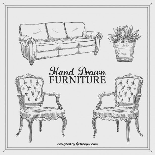 fancy couch drawing. Hand Drawn Vintage Furniture Free Vector Fancy Couch Drawing R