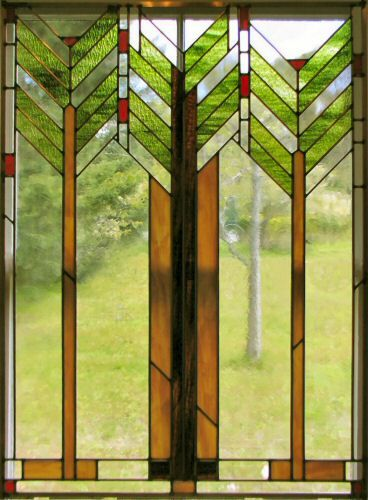 frank lloyd wright stained glass tree of life patterns | mountain ash stained glass window shown hanging in a temporary ...