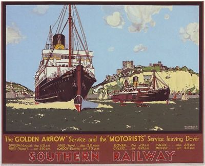 Southern Railway Dover Calais Ferry A3 by VintagePosterShopUK