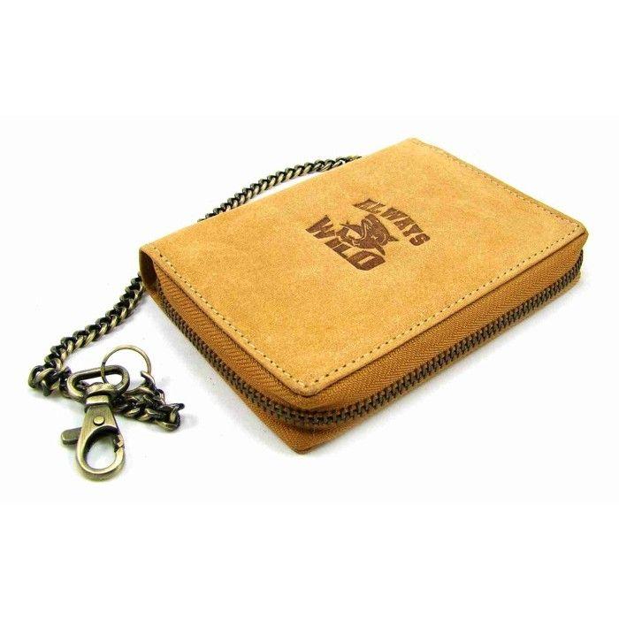 Hnědá pánská peněženka na zip kožená s řetízkem - peněženky AHAL