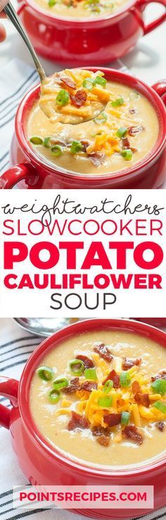 Slow Cooker Potato Cauliflower Soup Recipe (Weight Watchers SmartPoints)