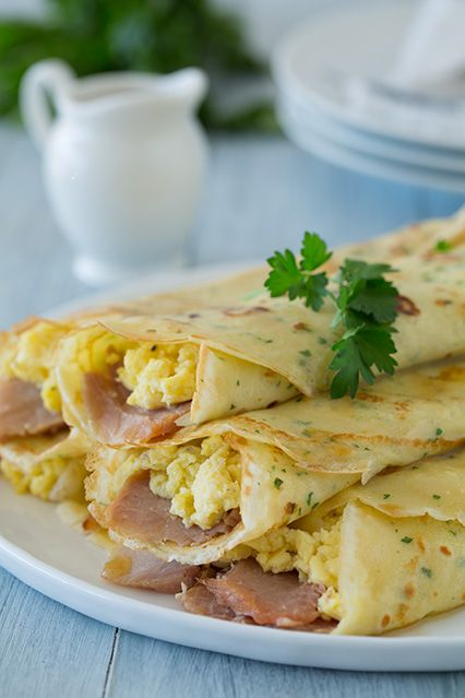 Herb Crepes with Eggs, Swiss, Ham and Browned Butter - Cooking Classy