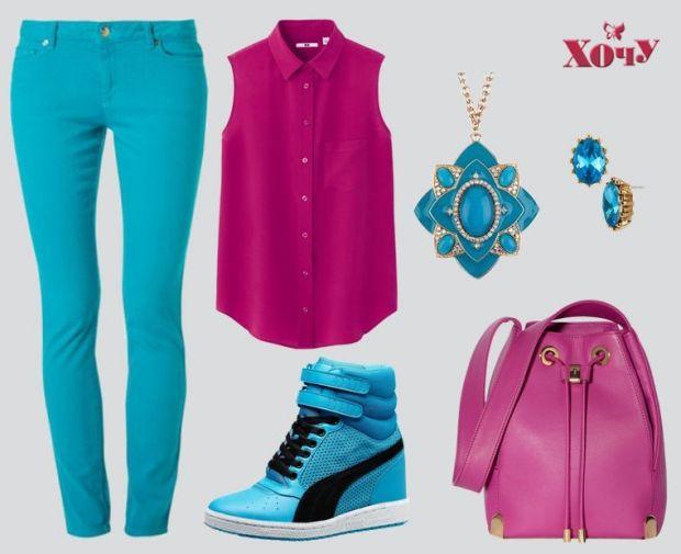 Сочетание цветов в одежде: синий