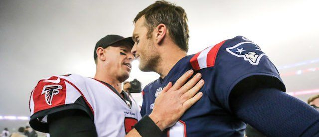 Tom Brady #12 of the New England Patriots shakes hands with Matt Ryan #2 of the Atlanta Falcons after a game at Gillette Stadium on October 22, 2017 in Foxboro, Massachusetts. (Photo by Maddie Meyer/Getty Images)