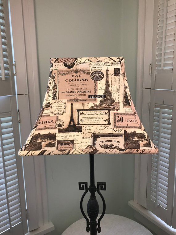 French Lamp Shade Eiffel Tower Script Brown And Beige