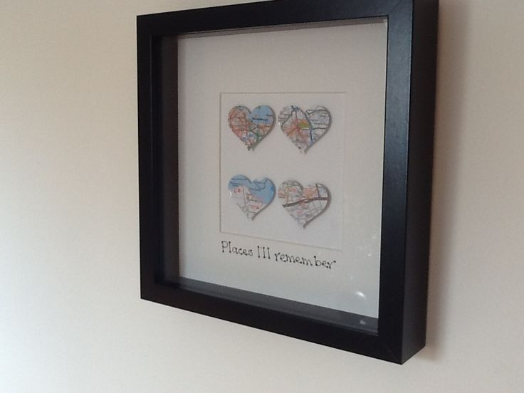 Personalised maps hearts - ideal gift for traveller