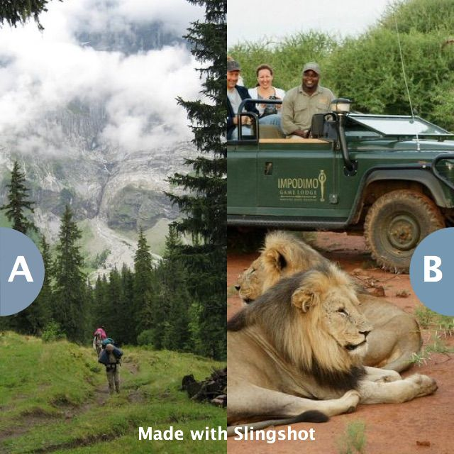 Go on a European backpacking trip or an African safari? Click here to vote @ http://getslingshotapp.com/share/95021