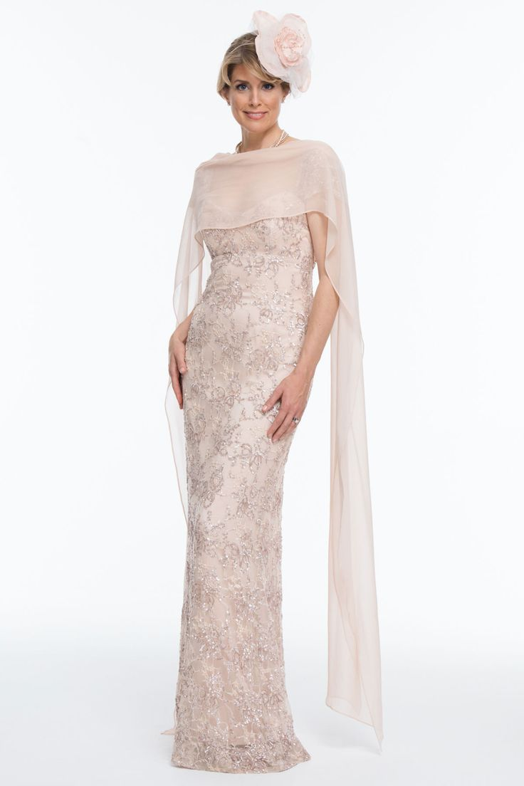 Long Beaded And Embroidered Lace Dress | Joyce Young
