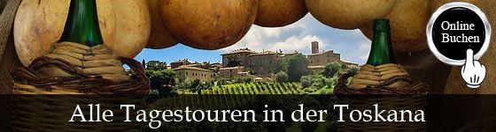 Tagestouren in der Region Toskana, Besichtigung mit Reiseführer, Kochkurse, Weinproben, Wanderungen, Fahrradtouren und Transfers. http://www.italien-inseln.de/italia/toskana-toscana/tagestour.html