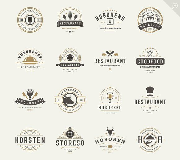16 Restaurant Logotypes and Badges by Vasya Kobelev on @creativemarket