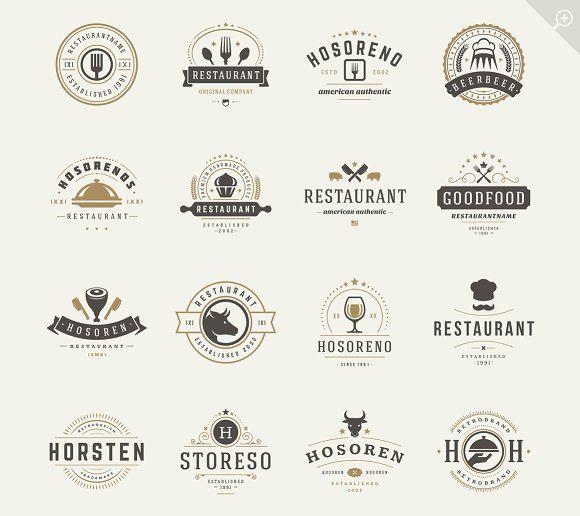 16 Restaurant Logotypes and Badges by Vasya Kobelev on @creativemarket