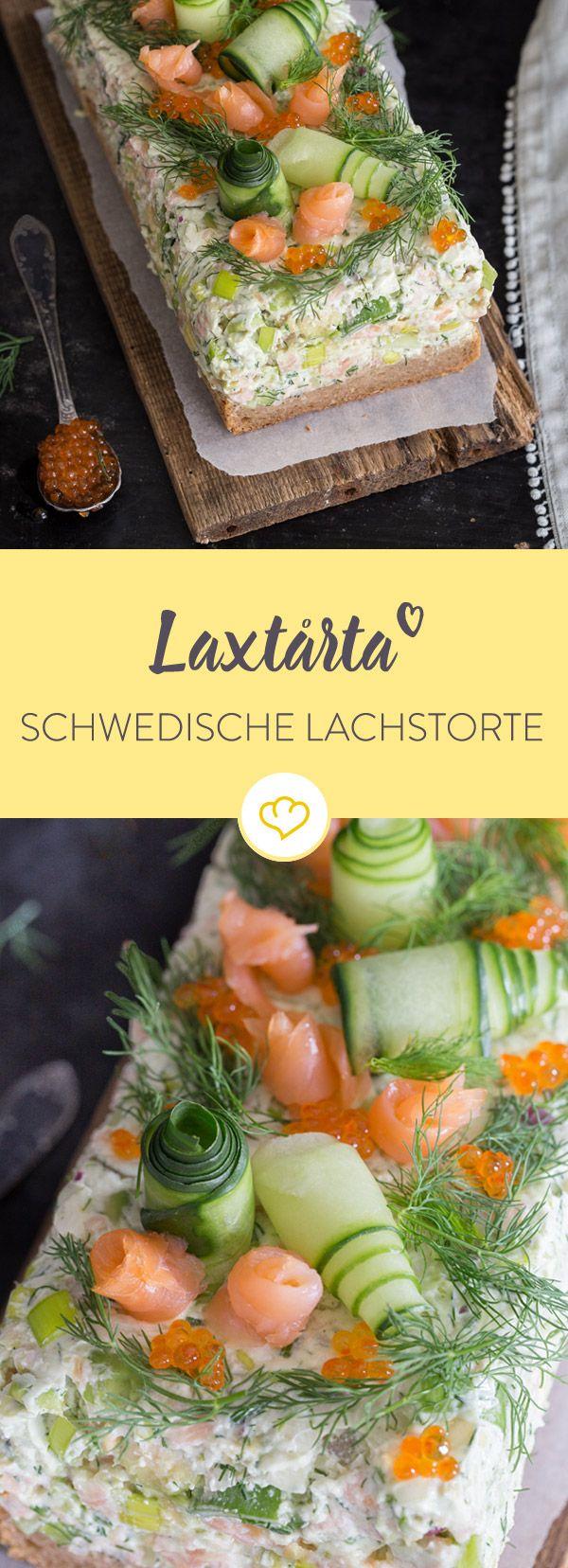 Der Klassiker der schwedischen Küche: Laxtårta punktet nicht nur mit inneren Werten - auch das Auge möchte am liebsten mitessen.