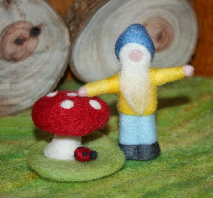 Gnome and Toadstool with a little needle felted lady bug.....