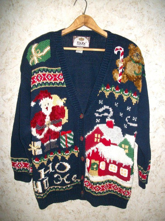 90s Tacky Christmas Cardigan Sweater Baggy Chunky Knit Ugly Sweater Party  Retro Fashion Hipster Vintage Button Front Oversized Womens Small 74d04c876