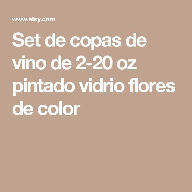 Set de copas de vino de 2-20 oz pintado vidrio flores de color