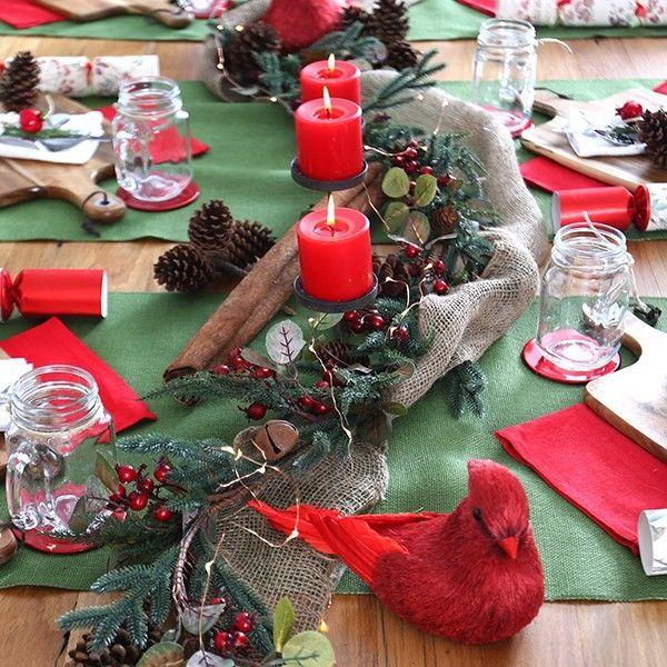 Jute Moss Green Table Runner in Rustic Christmas
