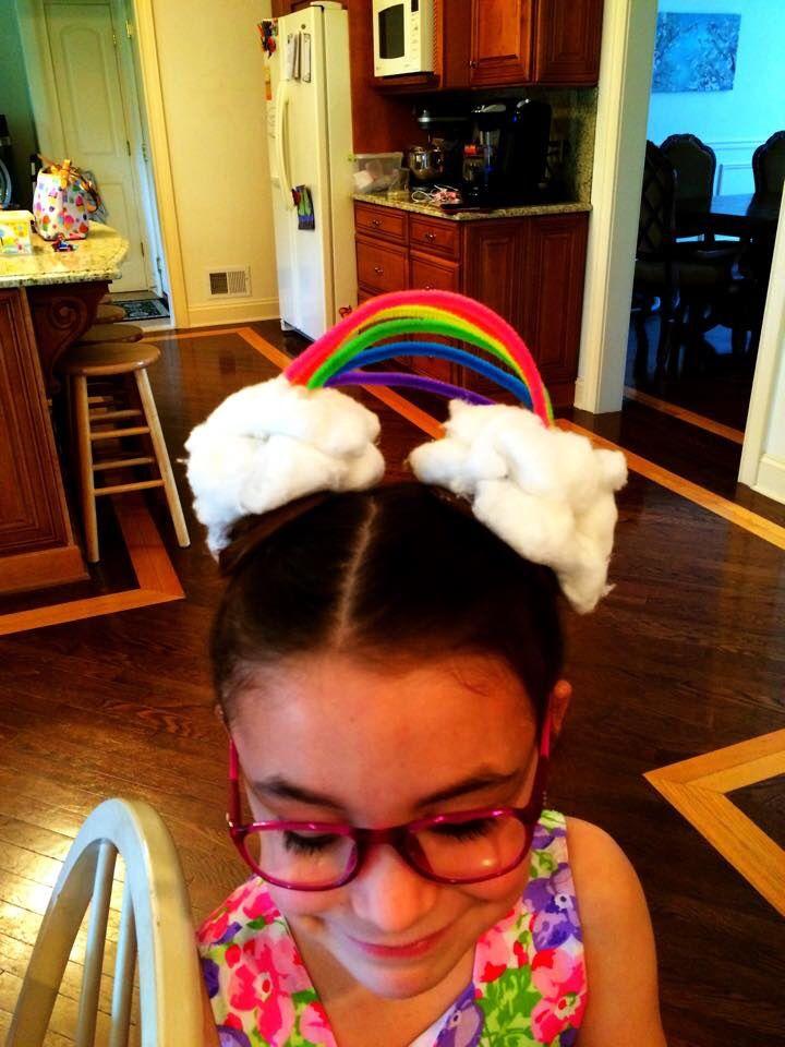 Rainbow hair for crazy hair day at school!
