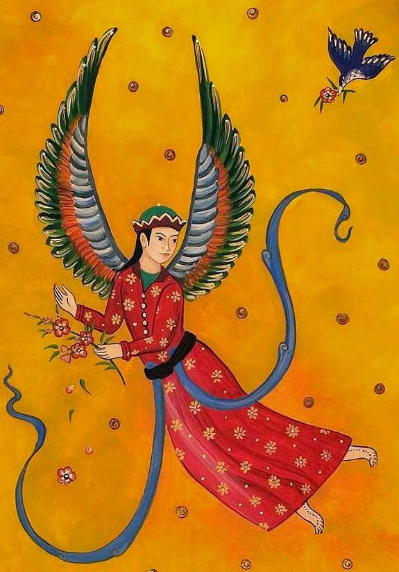 Paris or Peris according to ancient scriptures are Female mythical creatures. The Paris (Pari is singular and Paris are plural) are Persian spirits of great beauty who guide the mortals on their way to the Land of the Blessed.
