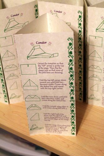 Paper Airplane Favors and Instruction tents :  wedding Favor Instructions 4
