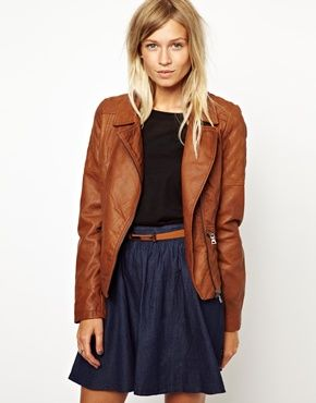 Image 1 ofOasis Diamond Quilted Leather Look Jacket