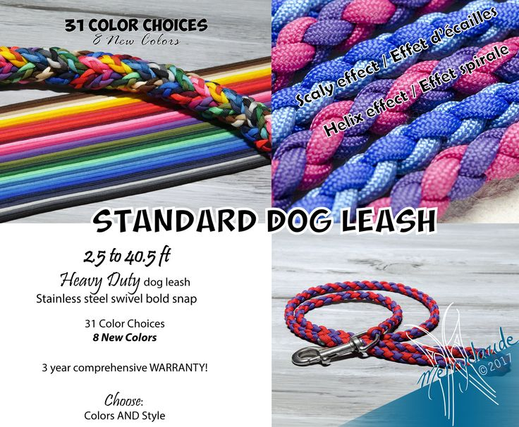 2.5 to 40.5 ft - Standard Paracord Dog leash - 4 strands - Stainless steel - Heavy Duty - Customizable