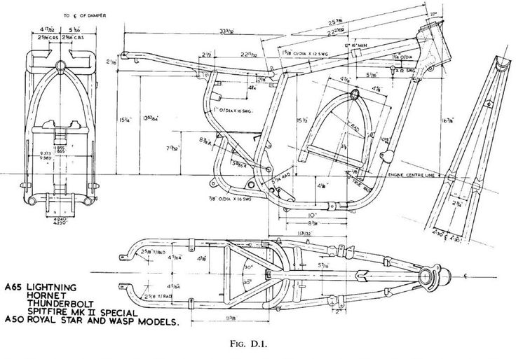 Bsa A65 And A50 Frame Motorcycle Engines And Blueprints