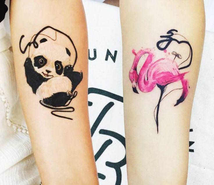 Panda and Pelican tattoo by Tattoo Tayfun