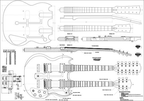 drawing of EDS1275 The Eagles in 2019 Guitar building